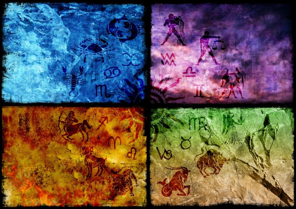 Знаки зодиака, принадлежащие к одной стихии, не шли один за другим, а чередовались с интервалом около трех месяцев.